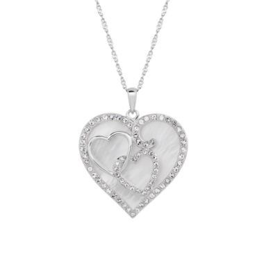 jcpenney.com | Sterling Silver Mother Of Pearl and Crystal Heart Pendant Necklace