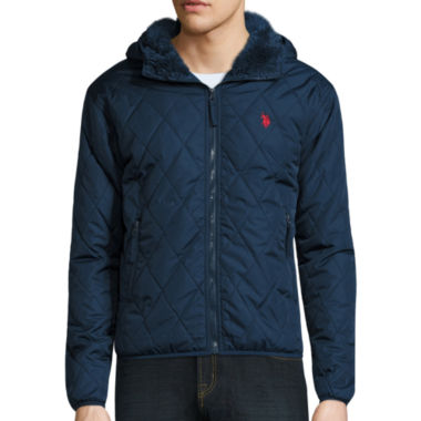 jcpenney.com | U.S. Polo Assn.® Diamond Quilted Hooded Jacket with Sherpa Lining