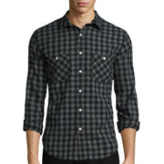Arizona Long-Sleeve Plaid Cotton Poplin Shirt