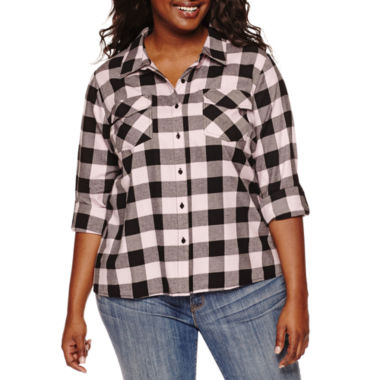 jcpenney.com | Embossed Plaid Button-Front Top - Juniors Plus