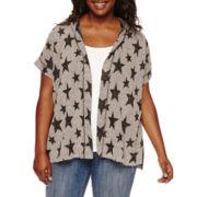 Embossed Short-Sleeve Hooded Cozi - Juniors Plus