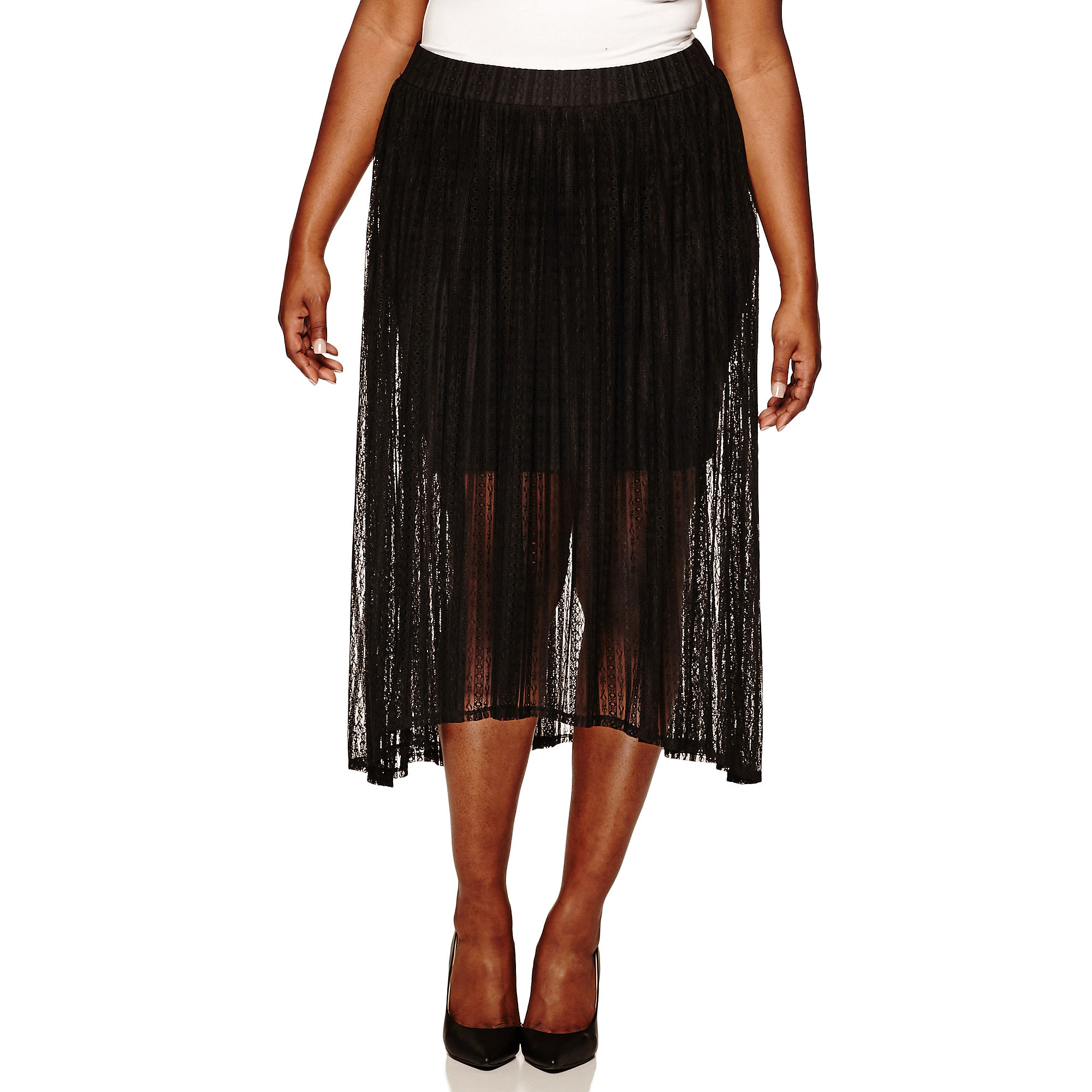 Embossed Lace Maxi Skirt with Mini Skirt Lining - Juniors Plus plus size,  plus size fashion plus size appare