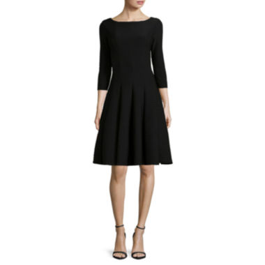 jcpenney.com | Danny & Nicole® 3/4-Sleeve Pintuck Fit-and-Flare Dress - Petites