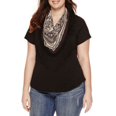 jcpenney.com | Unity™ Short-Sleeve Solid Top with Fringe Scarf - Plus