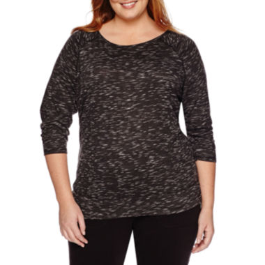jcpenney.com | Made for Life™ 3/4-Sleeve Patch Yarn Tee - Plus