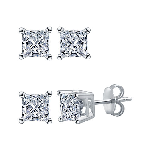 Deluxe 1/4 CT. T.W. Princess White Diamond 14K Gold Stud Earrings