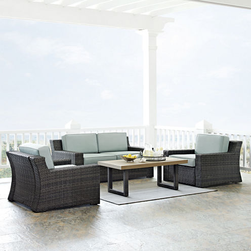 Beaufort 4-pc. Wicker Conversation Set With Cushions - Loveseat, Chairs, Coffee Table