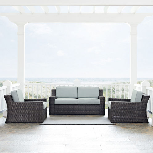 Beaufort 3-pc. Wicker Conversation Set With Cushions - Loveseat and Chairs