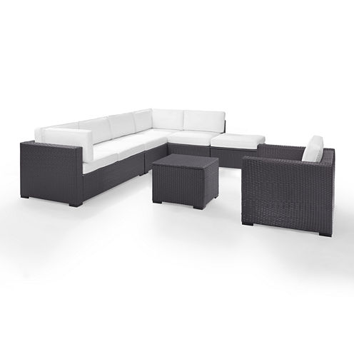 Biscayne 6-pc. Wicker Conversation Set - Loveseats, Armless Chair, Arm Chair, Coffee Table, Ottoman