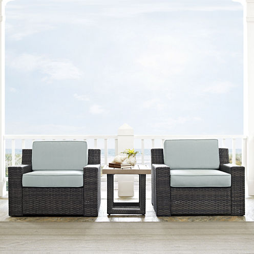 Beaufort 3-pc. Wicker Chairs with Cushions and Side Table Conversation Set