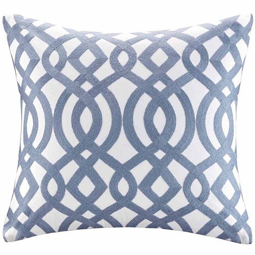 Madison Park Signature Trellis Cotton EmbroideredSquare Throw Pillow