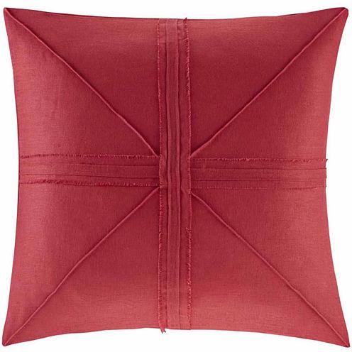 Madison Park Enid Oversized Linen Frayed Dec Pillow