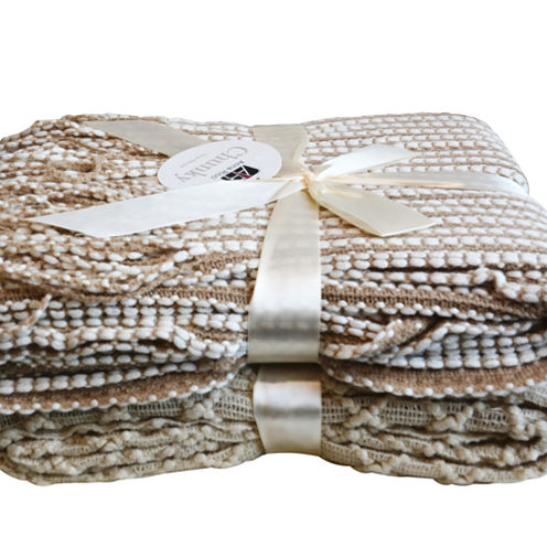 Orient Home Fashions Lightweight Knit Diamond Fringe Throw