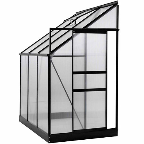 Ogrow Aluminium Lean-To Greenhouse With Sliding Door And Roof Vent
