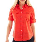 St. John's Bay Clip Dot Roll-Sleeve Campshirt - Petite