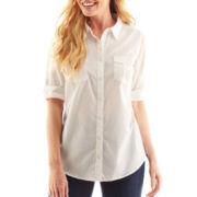St. John's Bay Clip Dot Roll-Sleeve Campshirt