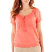 St. John's Bay® Short-Sleeve Smocked Peasant Top