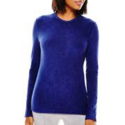 Liz Claiborne® Long-Sleeve Fleece Crewneck Layering Tee