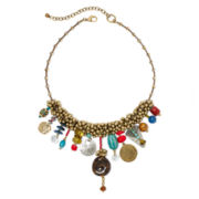 Aris by Treska Zanzibar Multicolor Bead Shaky Bib Statement Necklace
