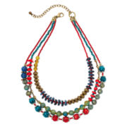 Aris by Treska Zanzibar Multicolor Bead 3-Row Layered Necklace