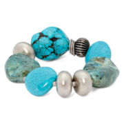 Aris by Treska Cyprus Blue Bead Chunky Stretch Bracelet