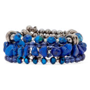 Aris by Treska Baltimore Blue Bead Multi-Row Coil Bracelet