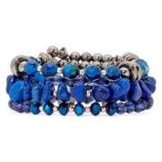 Aris by Treska Baltimore Blue Bead Multi-Row Coil Bracelet