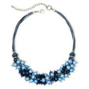 Aris by Treska Blue Bead Silver-Tone Shaky Necklace