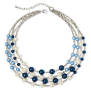 Aris by Treska Blue Bead Silver-Tone Multi-Strand Necklace