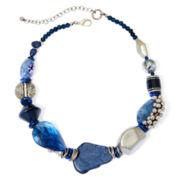 Aris by Treska Birmingham Blue Bead Silver-Tone Chunky Necklace
