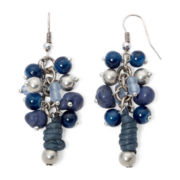 Aris by Treska Birmingham Blue Bead Silver-Tone Cluster Earrings