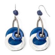 Aris by Treska Birmingham Blue Bead Silver-Tone Circle Drop Earrings