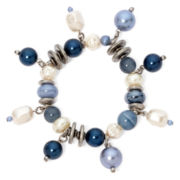 Aris by Treska Blue Bead Silver-Tone Stretch Bracelet