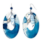 Aris by Treska Birmingham Blue Bead Silver-Tone Hoop Earrings