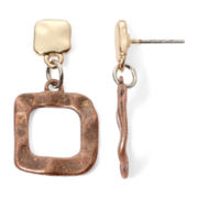 Bold Elements Two-Tone Hammered Drop Earrings