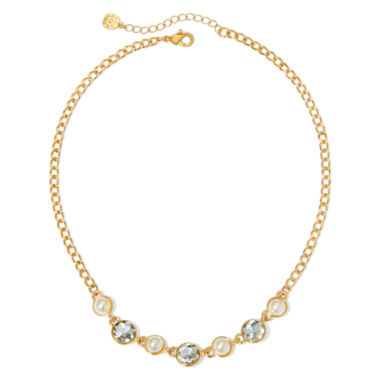 jcpenney.com | Monet® Simulated Pearl and Crystal Gold-Tone Necklace
