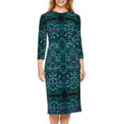 London Style Collection Long-Sleeve Print Sheath Dress - Petite