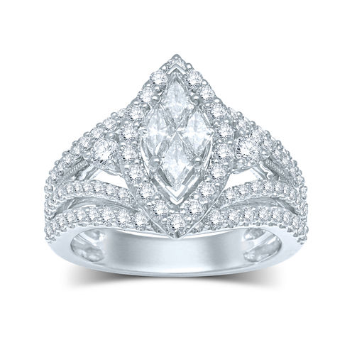 2 CT. T.W. Fancy-Cut Diamond Marquise-Shaped 14K White Gold Ring