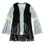 Knit Works Bell-Sleeve Top and Fringe Vest - Girls 7-16