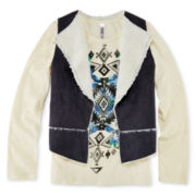 Knit Works Graphic Top and Sherpa Vest - Girls 7-16