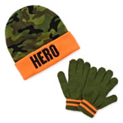 Camo Hero Hat and Gloves Set - Boys