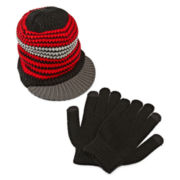 Brim Hat and Gloves Set - Boys 8-20