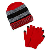 Berkshire Rolled Cuff Slouch Hat and Texting Gloves Set - Boys