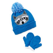 Raccoon Pompom Hat and Mittens Set - Toddler Boys 2t-4t