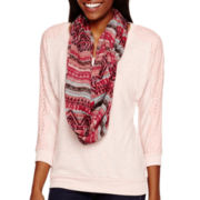 Self Esteem® 3/4-Sleeve Layered Lace Hatchi Top with Scarf