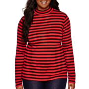 Arizona Long-Sleeve Mockneck Ribbed T-Shirt - Juniors Plus