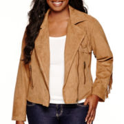 Arizona Long-Sleeve Fringe Jacket - Juniors Plus