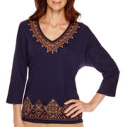 Alfred Dunner® El Dorado 3/4-Sleeve Tribal Yoke and Border Top - Petite