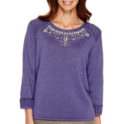 Alfred Dunner® Copenhagen 3/4-Sleeve Texture Beaded Yoke Sweater - Petite