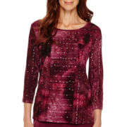 Alfred Dunner® Calabria 3/4-Sleeve Sequin Soutaché Tiered Top - Petite